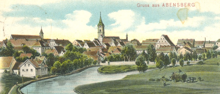 Postkarte - 1908 Gruß aus Abensberg (Farbe) - Vorderseite